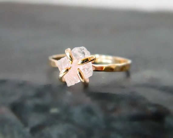 Raw Rose Quartz Gold Ring Engagement Ring Yoga by camilaestrella