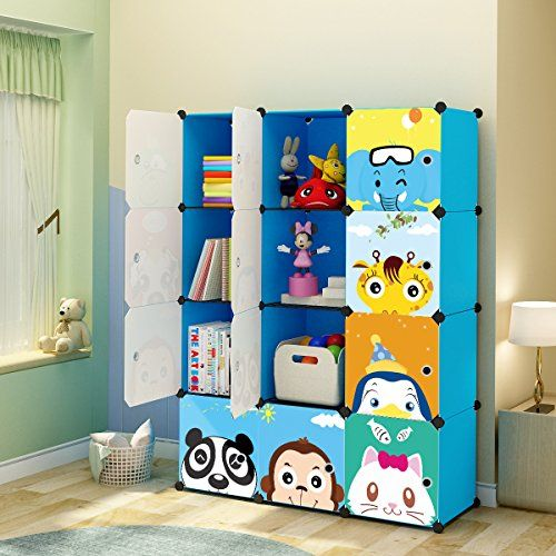 KOUSI Kids' Toy Storage Organizer Bookcase, 12 Storage Cube Blue #KOUSI #Kids' #Storage #Organizer #Bookcase, #Cube #Blue