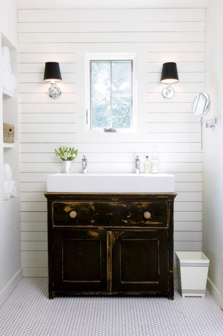 love small white trough sink with classic vanity cabinet for simple bathroom design - Simple Bathroom Designs