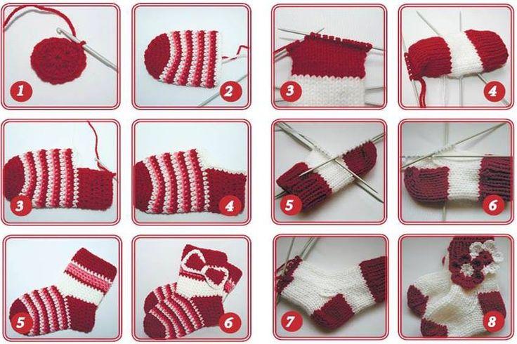 meias de tricô feito