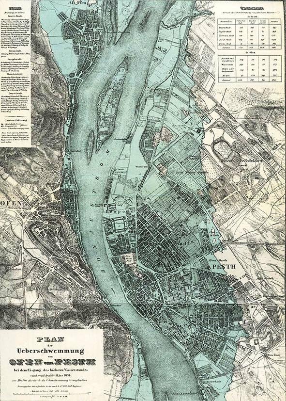 1838 március. Kékkel jelölve az a terület, amelyet a jeges ár elöntött
