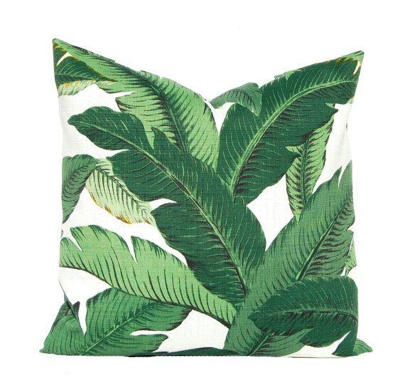 Oreiller extérieur - Palm Leaf oreiller couverture, couvre-oreillers vert, Banana Leaf oreiller, Hollywood Régence Decor, Decor hawaïen, véranda Decor