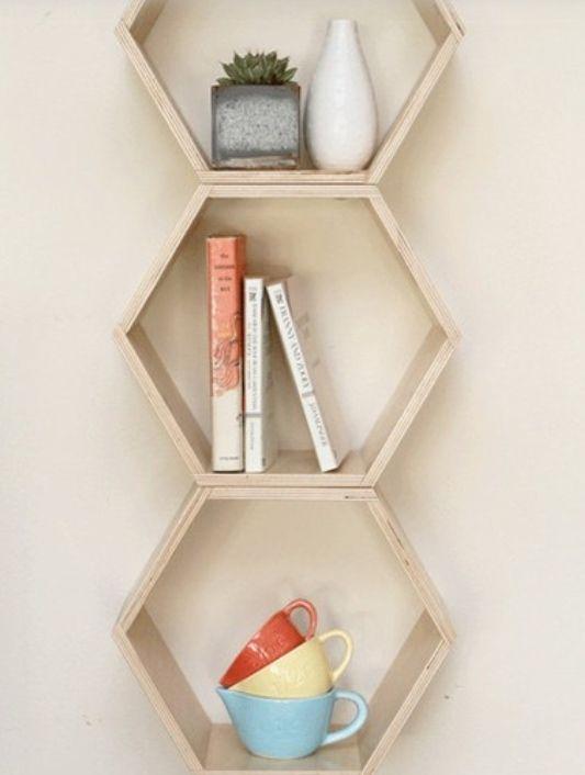 hexagonal shelves from dot and bo