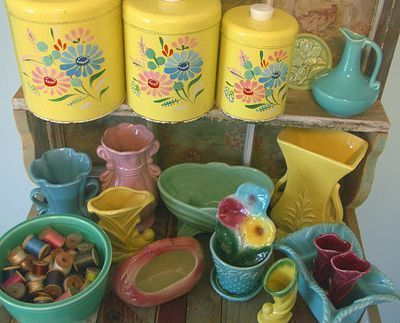 I get a kick out of vintage kitchenware. I did a Google search and found some photos of what I'm talking about.
