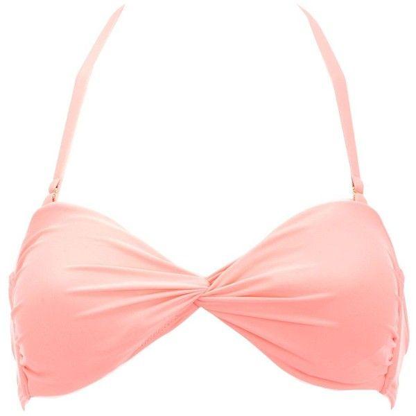 Neon Twist Front Bandeau Bikini Top ($4.49) ❤ liked on Polyvore featuring swimwear, bikinis, bikini tops, neon coral, halter bikini top, bandeau bikini tops, halter-neck bikinis, retro swimwear and bandeau top