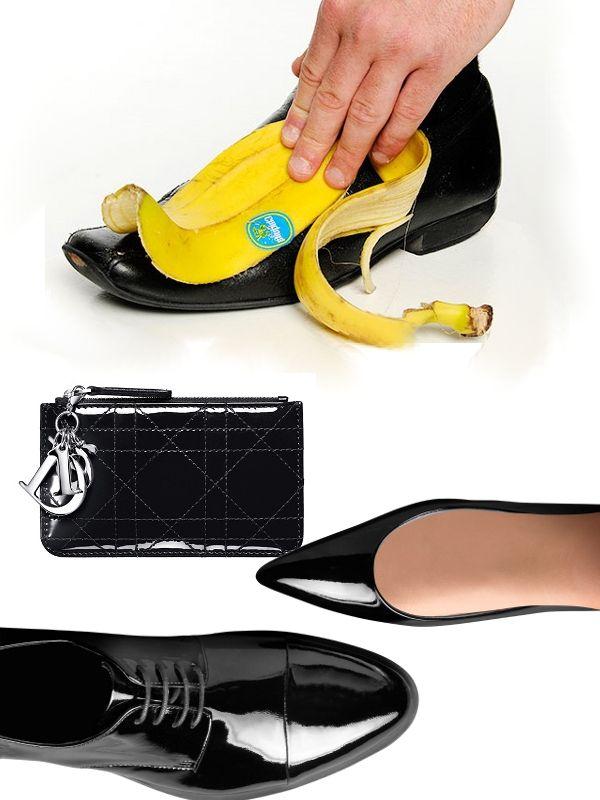 Bolsos y zapatos con brillo: Frota tus bolsos y/o zapatos de charol con la parte interior de la piel de un plátano. A continuación elimina los restos y sácales brillo con un trapo de lana muy seco y limpio. Si tienes un bolso y/o zapatos de charol que han perdido su brillo, aplica una capa de mantequilla y limpia bien.