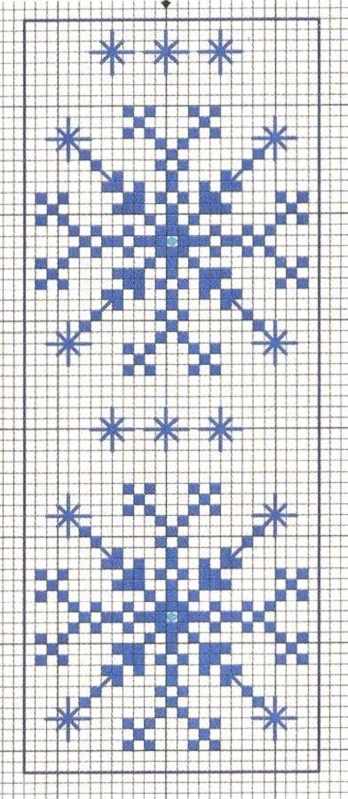 Blue Snowflakes. Cross stitch chart. #cross_stitch