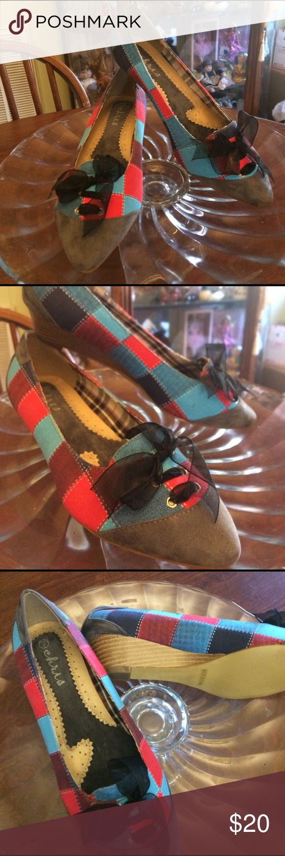 Pointed checked wedges. Super cute and fun pointed wedges in turquoise, red, navy with  black laced up bows at top. Look brand new and as far as I know have never been worn. These would look AMAZING with turquoise and red coral jewelry! chris Shoes Wedges