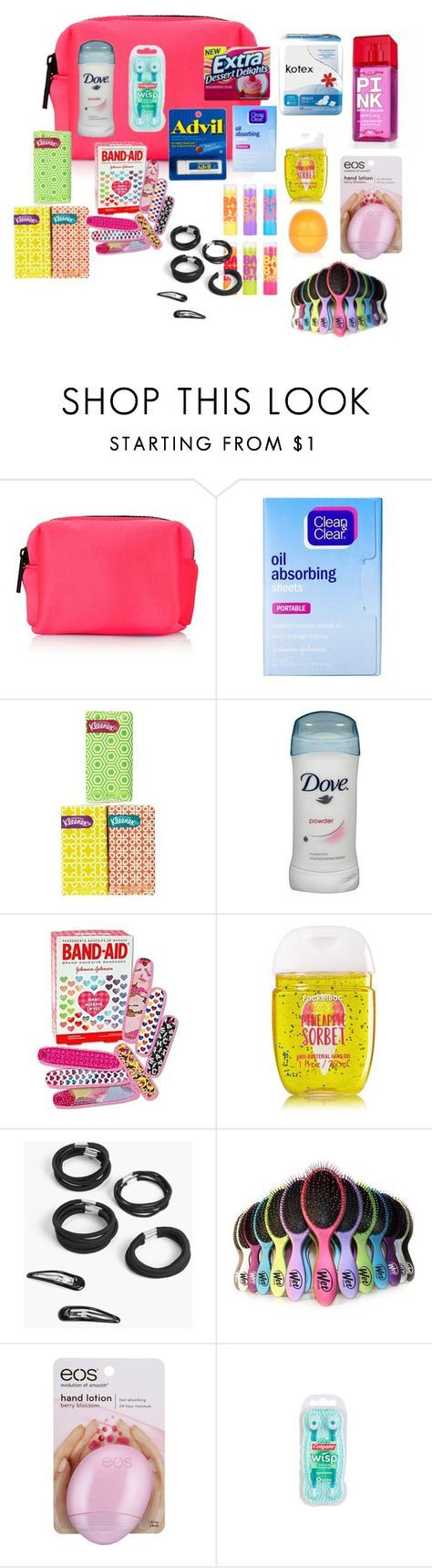 """Middle School Girl Survival Kit"" by kmann924 on Polyvore featuring beauty, Topshop, Clean & Clear, Victoria's Secret, Maybelline, Boohoo, Eos, Colgate and River Island"