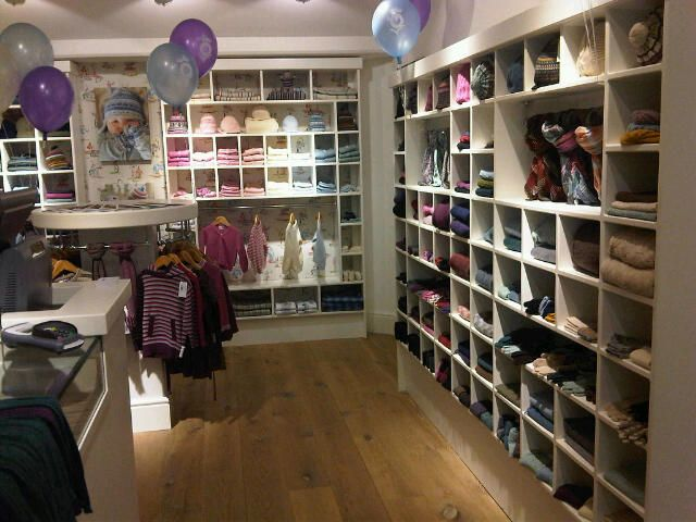 The shop fit in the Brora shop in Bath on opening day complete with balloons!
