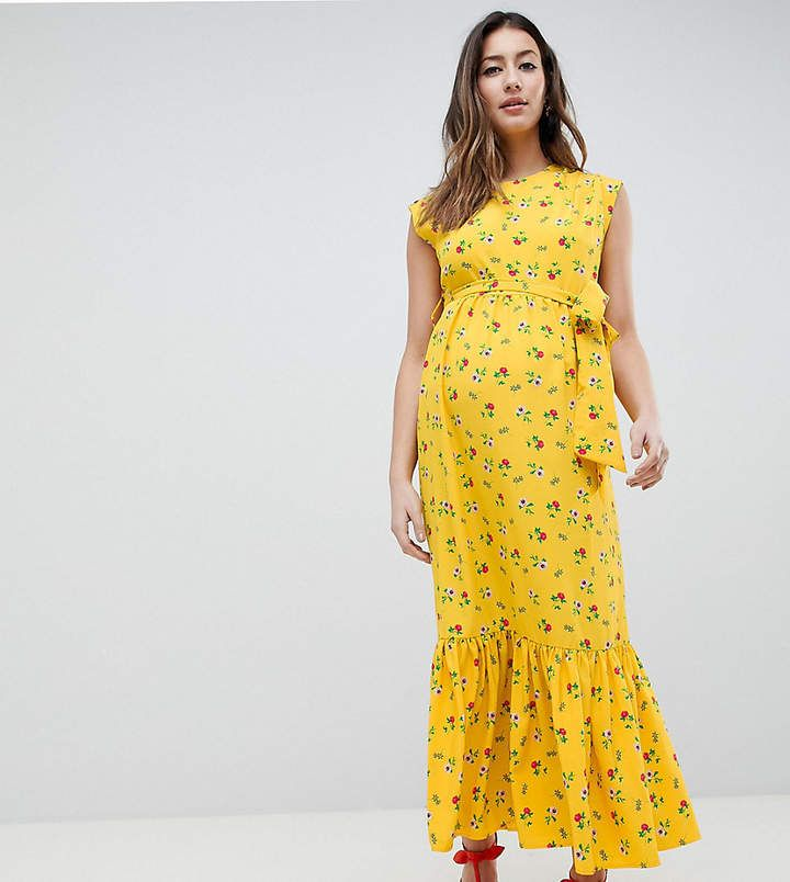 ffec698073f ASOS DESIGN Maternity Sleeveless Floral Maxi Dress With Ruffle Hem And  Belt.#ad
