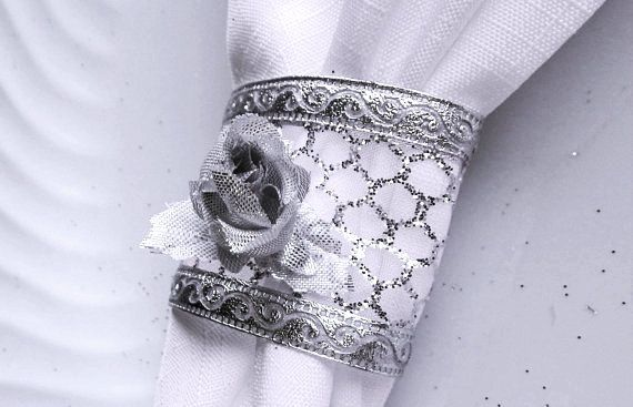 SILVER Scrolled w/Metallic Mesh Napkin Holder w/ Silver Rose, 25th ANNIVERSARY Napkin Ring w/Silver Rose, Home Table Decor Set of 12