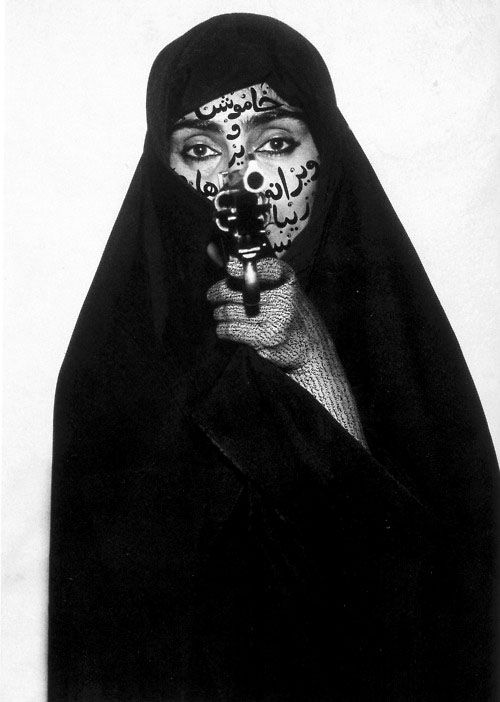 Shirin Neshat | girls with guns | pistol | shoot to kill | islamic | burka | kiss kiss bang bang | black & white | fierce | www.republicofyou.com.au