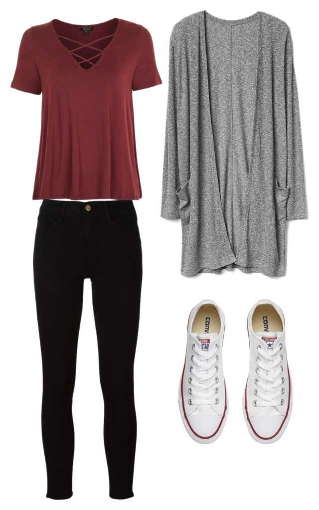 """Untitled #56"" by agatlin-1 on Polyvore featuring Topshop, Frame and Converse"