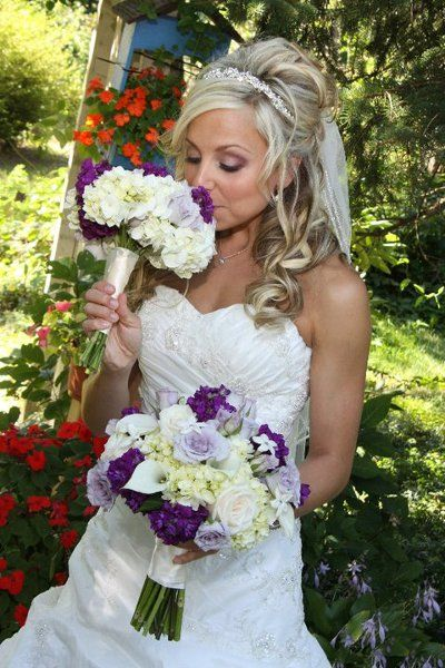 Purple Floor Half-up Ruching Satin Summer Sweetheart Tiara Wedding Hair & Beauty Photos & Pictures - WeddingWire.com