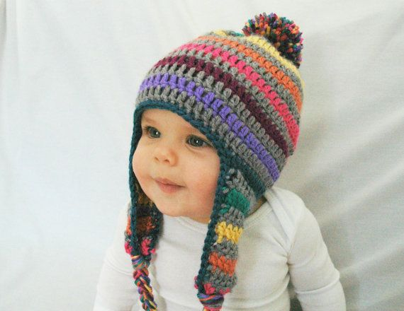 Hey, I found this really awesome Etsy listing at https://www.etsy.com/listing/182106835/crochet-baby-hat-rainbow-and-gray