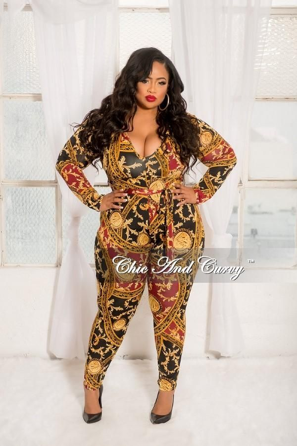 e0f5baf2040e Plus Size Long Sleeve V-Neck Jumpsuit with Attached Tie in Black Burgundy–  Chic And Curvy