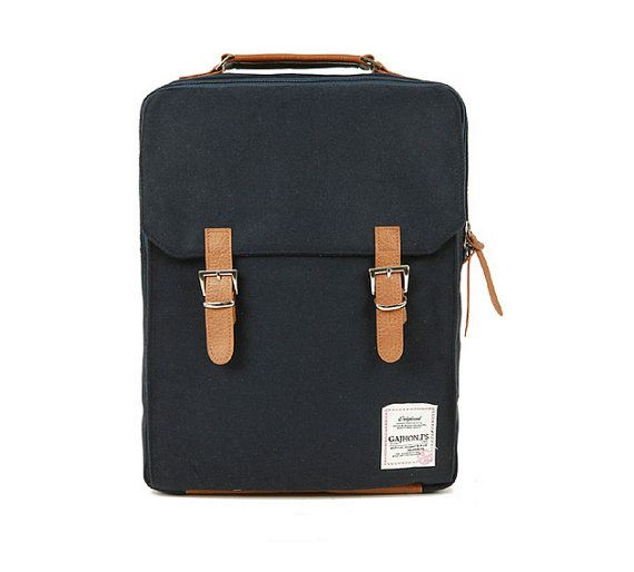 Cotton Square Backpack Black by BagDoRi on Etsy, $69.50