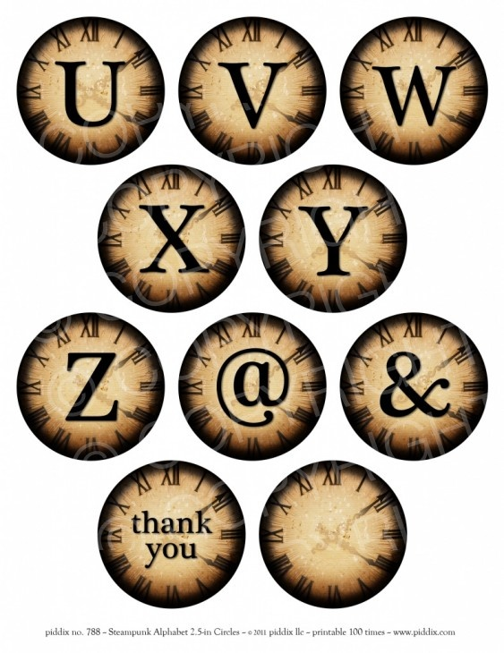 Steampunk Alphabet U to Z 2.5-inch circles