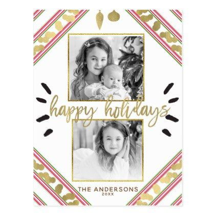 Happy Holidays Red White Green Stripes Photo Postcard - holiday card diy personalize design template cyo cards idea