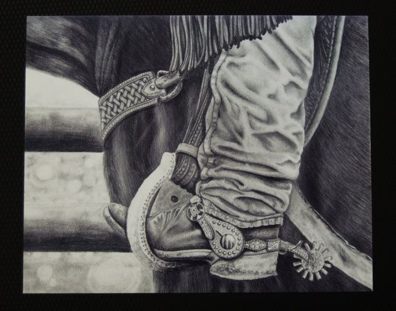 Country Western Art print Black and white pencil by KimbersFineArt, $40.00