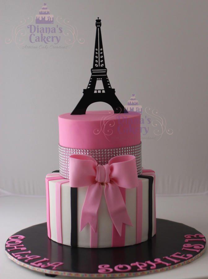 Paris Themed Cake - Cake by Diana's Cakery
