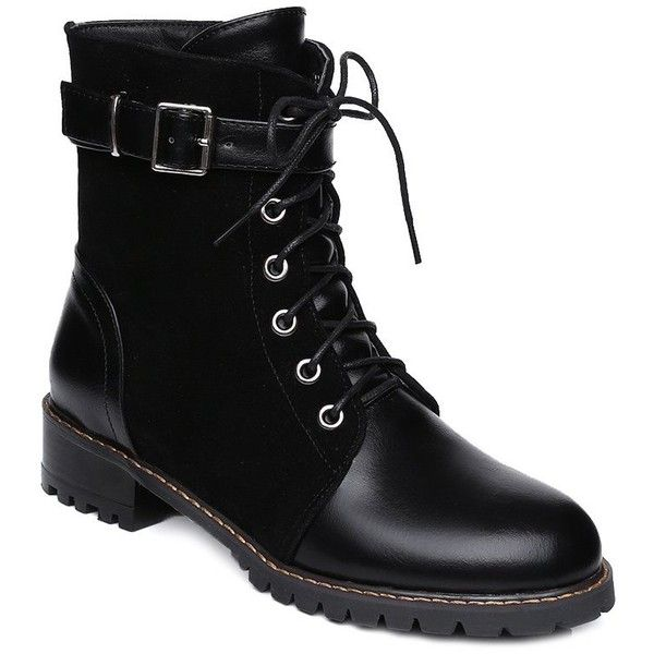 Suede Spliced Buckle Strap Lace Up Combat Boots ($43) ❤ liked on Polyvore featuring shoes, boots, lace up boots, army boots, military boots, lacing boots and suede boots