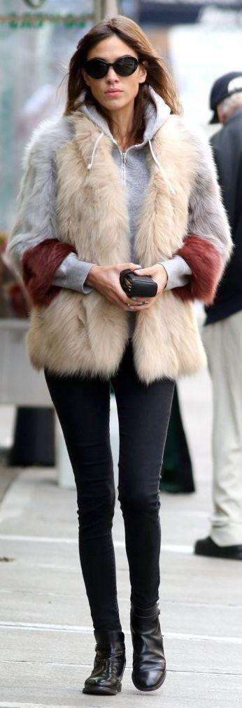Multi Street Chic Faux Fur Jacket