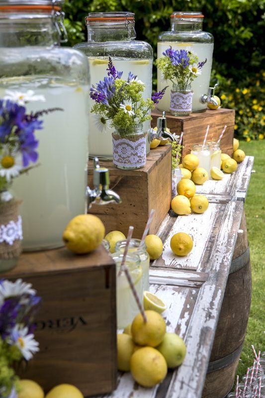Rustic bar, Kilner drink dispensers, lemonade, wine crates, rustic wedding