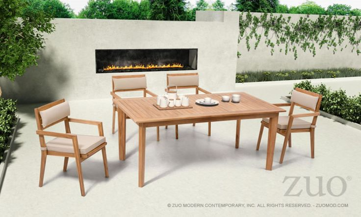 The Nautical Outdoor Dining Set is made from solid unfinished Teak. The grade of Teak is BC, which limits the amount of knots found in the wood. The Nautical cushions (beige) are made from industry leader Sunproof fabrics, which ensure water wicking and UV resistance for longterm outdoor use. This s
