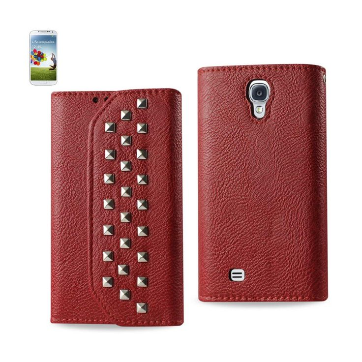 Reiko Samsung Galaxy S4 Studs Wallet Case Dark Red | MaxStrata