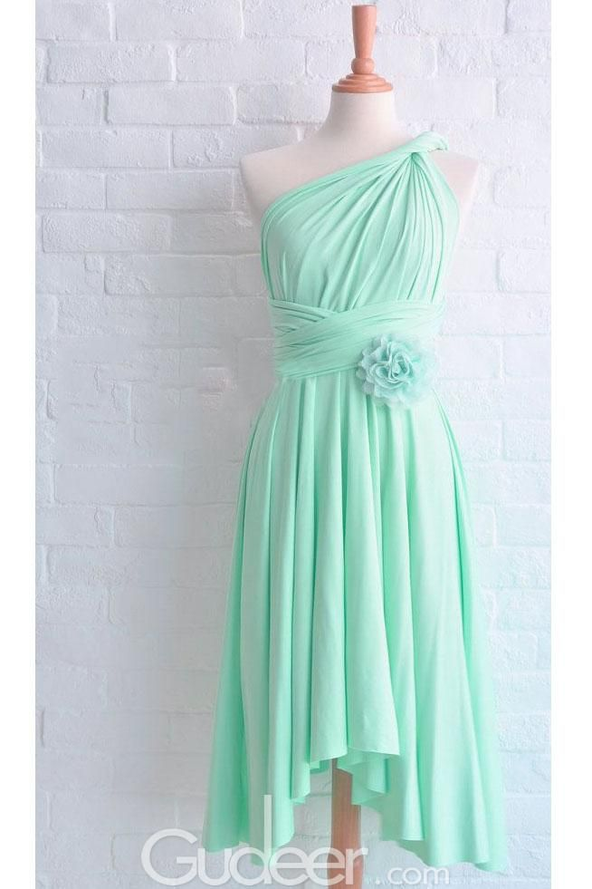 Mint Green One Shoulder High Low Hem Layered Bridesmaid Dress with Flower