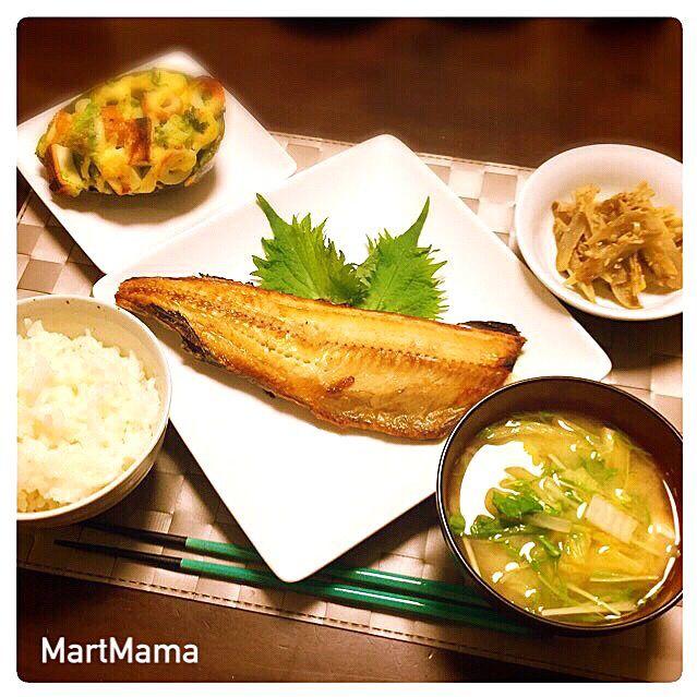 ◼︎はんぺんとちくわのアボマヨ焼き ◼︎ごぼうのネギ味噌炒め ◼︎白菜と水菜の味噌汁◼︎焼きホッケ - 198件のもぐもぐ - 焼きホッケ定食 by MartMama