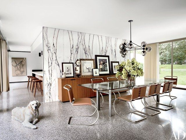The Woodwards' golden retriever Dash relaxes in the dining room, where a Jason Miller light fixture is installed over a Carlo Scarpa table by Cassina and Mies van der Rohe chairs by Knoll