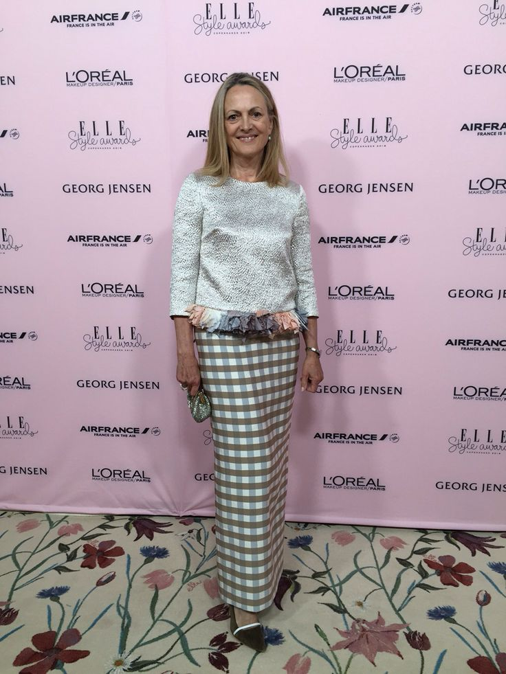 Elise Gug  wearing long silk skirt and rosa silver bluse with feathers from spring summer 2016 at ELLE styleawards 2016