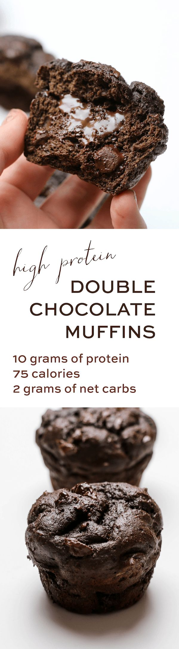 TIncredibly rich and loaded with dark chocolate chips, what really blew me away is how healthy they are. Each muffin has only 75 calories and 2g net carbs, but they pack 10g protein!!! Make these muffins and find out why they're our new favorite breakfast.