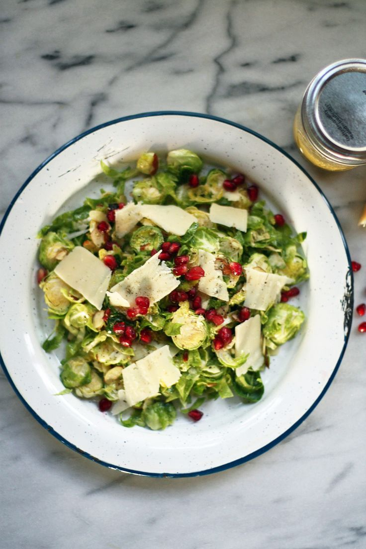 Shaved Brussel Sprout Salad with Parmesan & Champagne Vinaigrette by malibukitchen #Salad #Brussel_Sprouts #Parmesan #Healthy