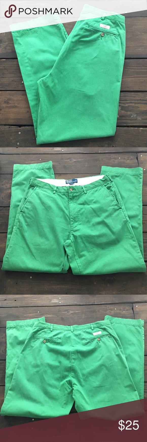 "EUC Men's Polo Ralph Lauren Green Chino Pants Excellent Men's Green Flat Front Chino Pants Polo Ralph Lauren Size 35/32 17"" Waist measured flat Polo by Ralph Lauren Pants Chinos & Khakis"