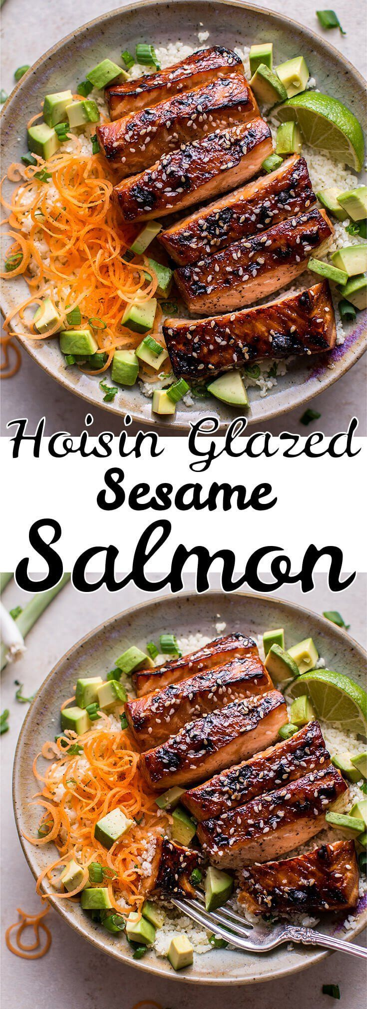 This glazed hoisin and sesame salmon bowl is a delicious low-carb meal idea, served on a bed of cauliflower rice. #seafoodrecipes