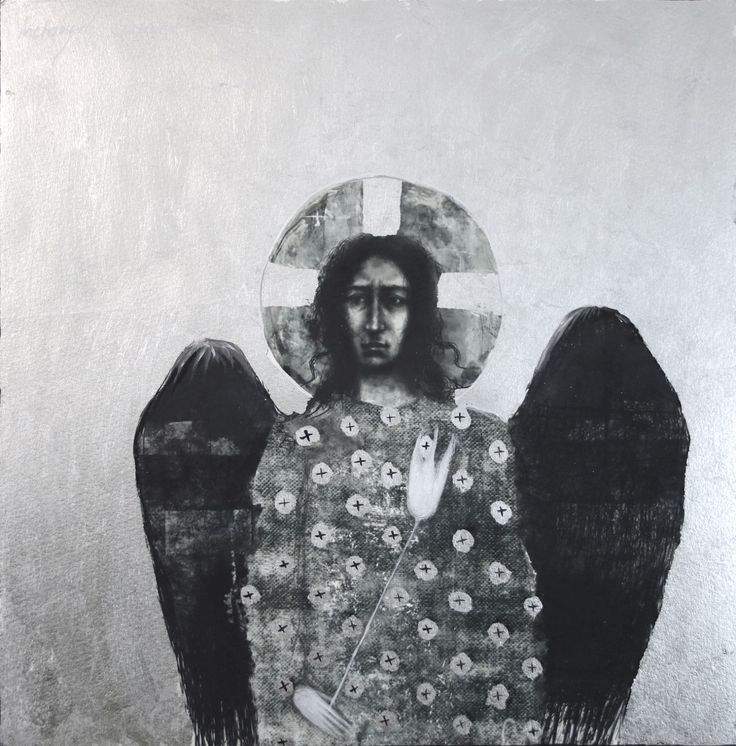Archangel Gabriel, multi-original drawing with silver leaf 12x12 in by ingridArtStudio on Etsy https://www.etsy.com/ca/listing/484415756/archangel-gabriel-multi-original-drawing
