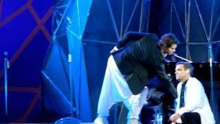 Mark Owen being funny Progress Live Take That Amsterdam Arena July 18th  Robbie Williams Howard Donald Mark Owen Gary Barlow Jason Orange Progress Live medley Amsterdam Arena
