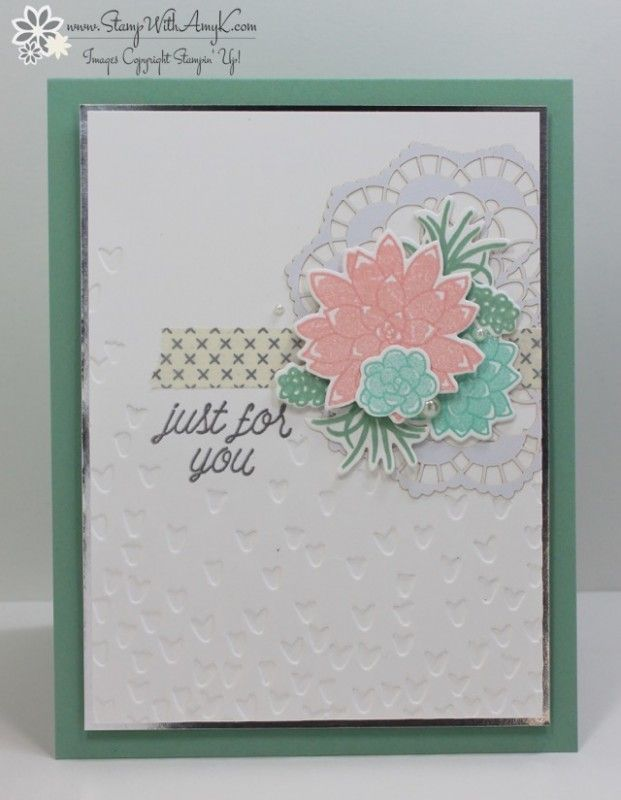 You can see more information and free instructions for making this card on my blog here:  https://stampwithamyk.com/2017/01/30/stampin-up-oh-so-succulent-in-pastels/