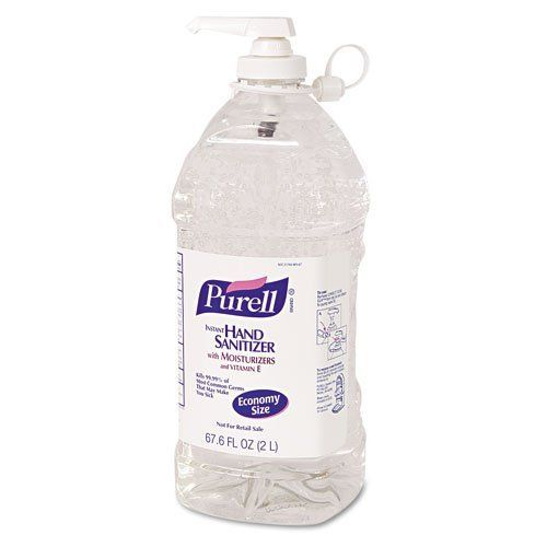 GOJO : PURELL Instant Hand Sanitizer, 2-liter Bottle -:- Sold as 2 Packs of - 1 - / - Total of 2 Each by Gojo. $45.52. GOJO : PURELL Instant Hand Sanitizer, 2-liter Bottle  Kills 99.99% of common germs that may cause illness, without soap or water. Dermatologist tested. Dye-free. Global Product Type: Hand Sanitizers-Liquid; Hand Sanitizers Type: Liquid; Color(s): Clear; For Use With: N/A.:Manufactured by.: GOJO