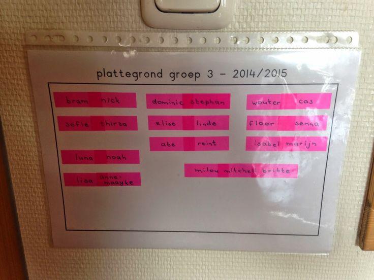 Plattegrond van de klas maken met bookmarkers. Schrijf de namen van de kinderen op en plak ze op een a4 papier. Bij het verwisselen van plaats, kun je de bookmarkers makkelijker herplakken!