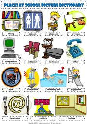 places at school pictionary poster vocabulary worksheet icon