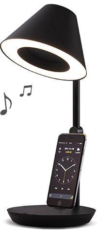 やさしい電球色の照明スタンド、音楽用スピーカー、iPhoneやiPadのドックシステム、USBチャージャーを直径16センチの置き場所でひとつに、快適に。