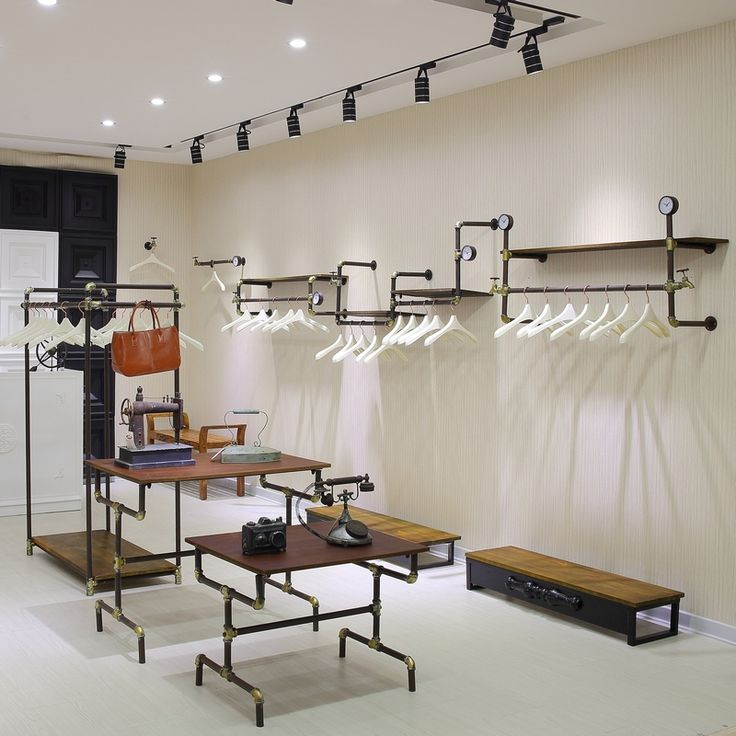 Continental-Iron-clothing-store-display-shelf-display-rack-hanger-floor-wood-panels-pipe-hanger-design.jpg (800×800)