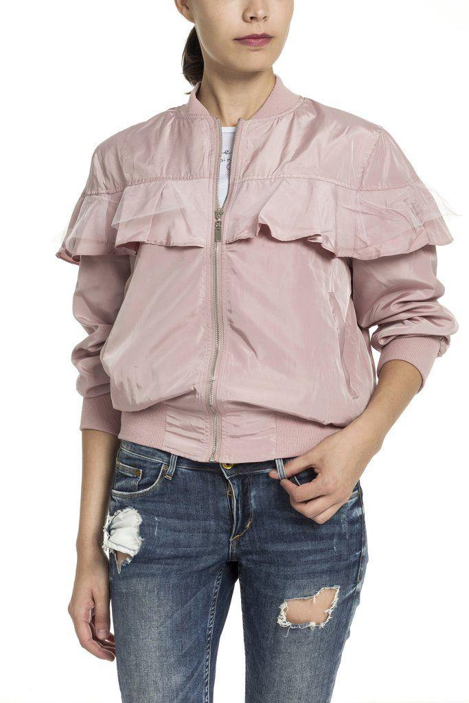 Rózsaszín fodros dzseki – Alabama shop