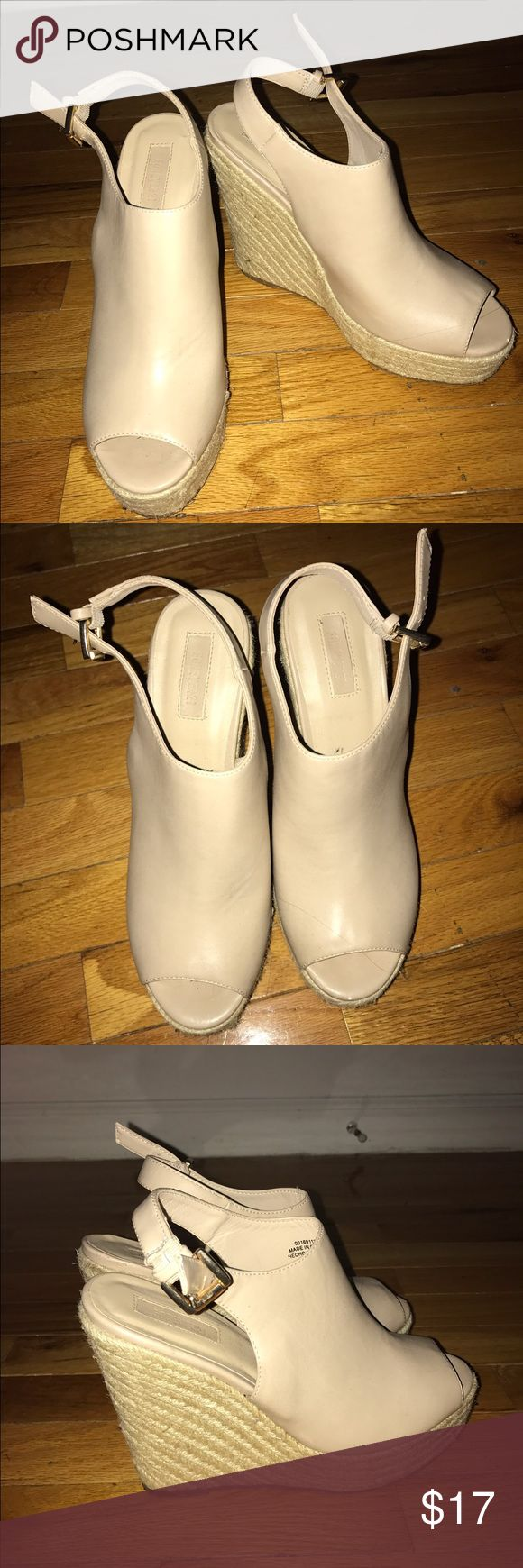 Nude Leather Wedges Open toe nude leather wedges Forever 21 Shoes Wedges