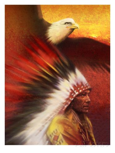 A Middle-Aged Adult Native American Male Wearing a Headdress with ...